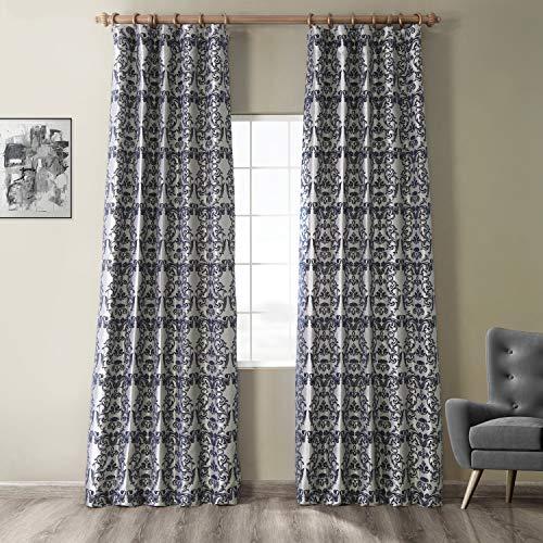 HPD Half Price Drapes PTFFLK-C7D-96 Flocked Faux Silk Curtain, 50 X 96, Silver & Blue