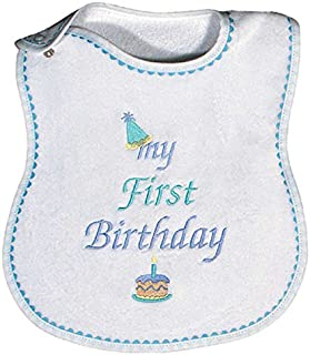 Raindrops My First Birthday Embroidered Bib, Blue
