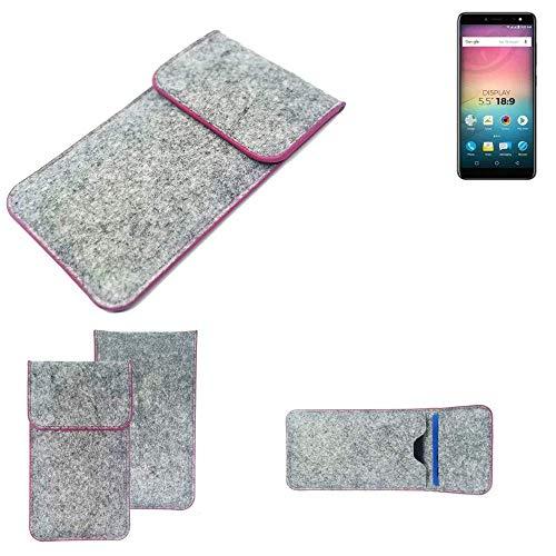 K-S-Trade Handy Schutz Hülle Für Allview V3 Viper Schutzhülle Handyhülle Filztasche Pouch Tasche Hülle Sleeve Filzhülle Hellgrau Pinker Rand
