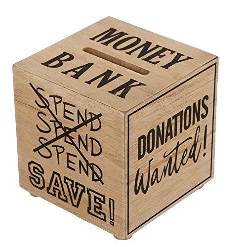 Haus der Herzen Spardose Sparbüchse Würfel Money Bank Holz Sparschwein Holz-Natur Sparbox