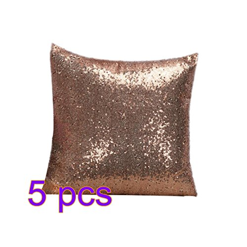 5 x Demarkt kussen Solid Color glitter pailletten sierkussen lila 40X40CM 5 x roze.