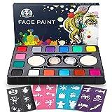 Dookey Kinderschminke Set, Hochwertiges 14 Schminkfarben Face Paint mit 24 Malerschablonen, Wasserbasiert und Ungiftig, Geschenk für Kinder Partys & Fasching & Halloween
