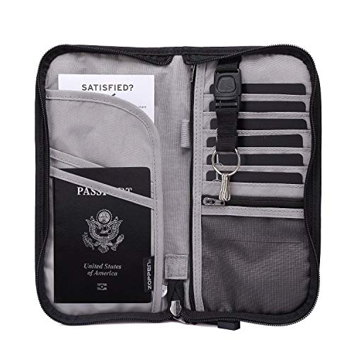 Zoppen RFID Travel Passport Wallet & Documents Organizer Zipper Case with Removable Wristlet Strap, Black
