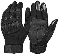 冬の暖かい手袋 オートバイ手袋スーパーファイバー強化レザーモトクロスバイクバイクのレーシングカーライディングモトグローブ男性 (Color : Black, Size : M)