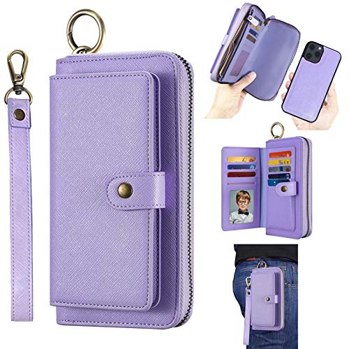 AIFENGCASE Phone Case Compatible with iPhone 12 Mini,Wallet Case for Women Men,Wristlets Clutch Zipper Leather Pouch Wallet Flip Case Card Holder Magnetic Detachable Back Cover,Purple