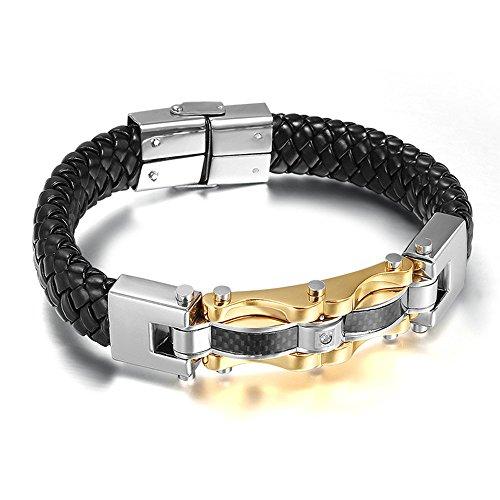 Onefeart Edelstahl Armband Für Herren Kohlefaser Armreif 22.5X1.4CM Silber