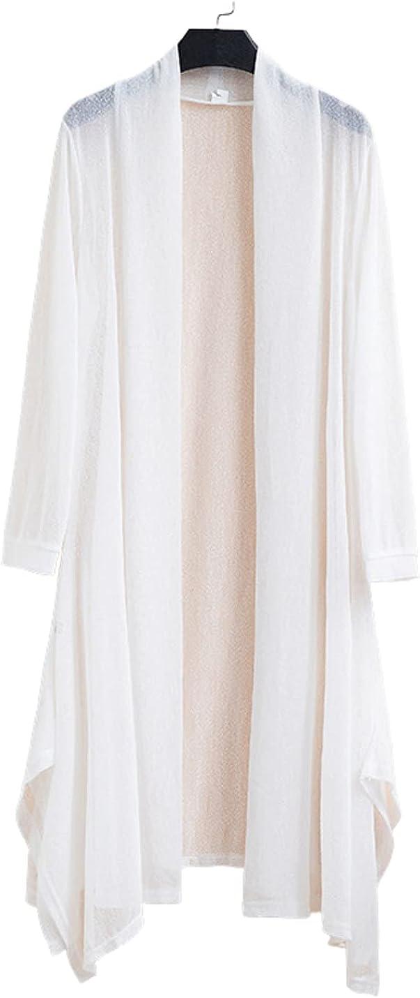 InterNos Women's Flowy Sheer Long Cardigan Loose Open Front Kimono Cover Ups
