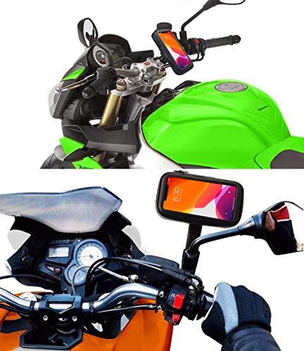 Antber mobiele telefoonhouder voor motorfiets, met snellader, 2,1 A, onbreekbare houders aan achteruitkijkspiegel en stuur, waterdichte beschermhoes, universeel inzetbaar voor mobiele telefoons tot 6,5 inch met veiligheidssysteem