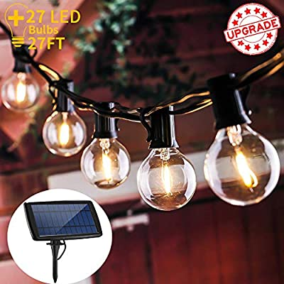 LOGUIDE Waterproof LED Outdoor Solar String Lights,UL Listed Backyard Patio Lights,25 Pcs Vintage Edison Bulbs - 27 Ft Heavy Duty Patio Lights Create Cafe Ambience On Your Porch,Warm White