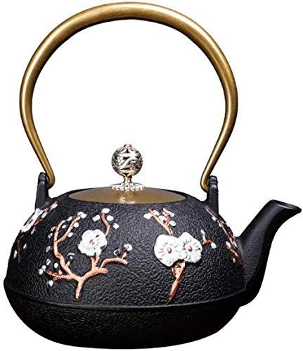 Jooyouo-TH Emaille theepot gietijzeren theepot ambachtelijke ijzeren pot met de hand gebakken gekookte thee gietijzeren pot Hi-Top ijzeren theepot