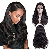 Lakihair Body Wave Human Hair Wigs 150% Density Brazilian Virgin Hair Lace Front Wig Natural Hairline with Baby Hair 10 Inch Natural Black