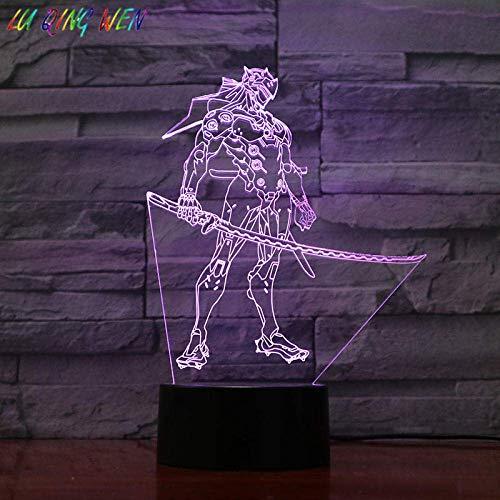 3D Illusionslampe LED Nachtlicht Spiel Overwatch Sensor für Kinder Shimada Genji Figur Home Decoration Urlaub Geschenk Ow Office Schlafzimmer