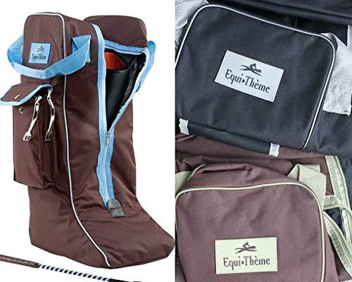 Equitheme Stiefeltasche SCHWARZ/GRAU Reitstiefeltasche Tasche für Reitstiefel Stiefelbeutel