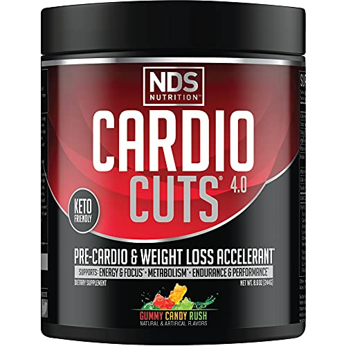 NDS Nutrition Cardio Cuts 4.0 Pre Workout Supplement - Advanced Weight Loss and Pre Cardio Formula with L-Carnitine, CLA, MCTs, L-Glutamine, and Safflower Oil - Gummy Rush (40 Servings)