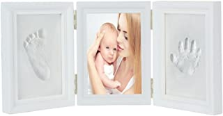 JZK White Baby Handprint Footprint Picture Frame kit for Boys and Girls Perfect Baby Shower Gift, EN71 Toy Test Passed Non-Toxic Child Safe, Premium Clay & Wood Frames