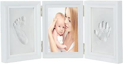 JZK Precioso kit marco huella manos y pies bebé recuerdo fotográfico huellas bebé no tóxico seguro arcilla premium y marcos madera para niño y niña perfecto bautismo baby shower regalo