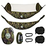 Trekbudz Hammock with Mosquito Bug net Bundle and Bonus Survival Bracelet. Including Tree Straps, carabiners and Carry Bag. Lightweight and Compact for Camping, Hiking, Travel, Beach or Backyard