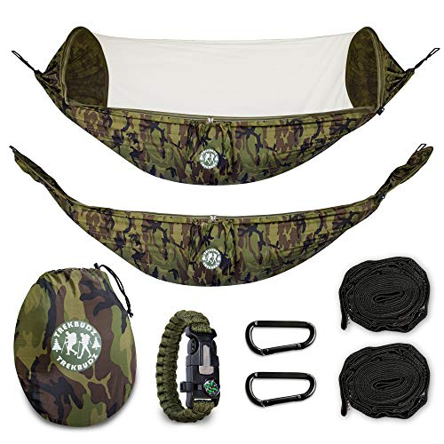 Trekbudz Hammock with Bug net and Bonus Survival Bracelet. Including Tree Straps, carabiners and Carry Bag. Lightweight and Compact for Camping, Hiking, Travel, Beach or Backyard