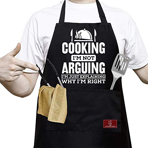 APRONPANDA Funny Black BBQ Chef Aprons for Men with 2 Pockets - Dad Gifts, Gifts for Mom - Birthday Gifts for Husband, Mom, Kitchen Cooking Grilling Apron