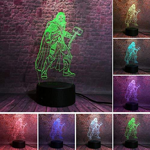 3D-Illusionslampe führte Nachtlicht Avengers Alliance Thor mit Hammer Film Anime Action Kreative Tischlampe Nachttisch Dekor Mann Jungen Geschenk
