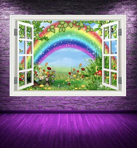 SHANHU Vollfarbige Kindermärchen Regenbogen Gras Fenster Wandkunst Aufkleber