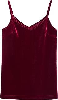 Womens Casual Adjustable Straps Crushed Velvet Tank Tops V Neck Cami Sleeveless Summer Top