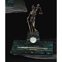 Sale- Legal Pen Holder w/ Clock - Bronzed Metal on Marble