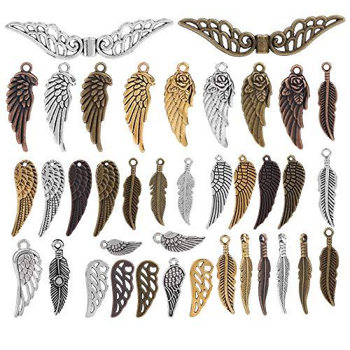 100 Encantos Colgantes adornos de alas de ángel de plumas de bronce, Diy Accesorios ,formas aleatorias y tamaños adecuados para todo tipo de montaje de bricolaje para hacer accesorios y collares,