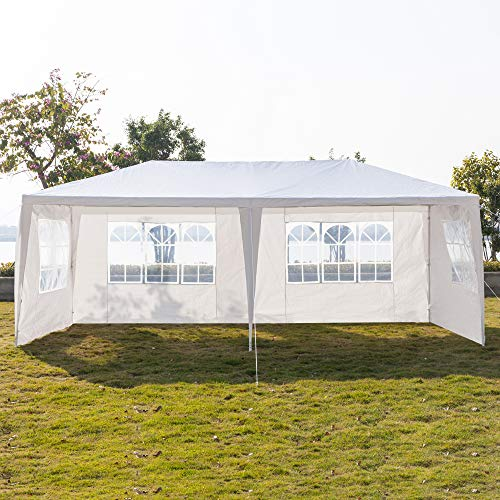 10 x 20 x 8.5ft Outdoor Patio Canopy, Heavy Duty Gazebos, Sunshades Shelter Waterproof Commercial Tent for Events, Wedding, Party with 5 Removable Sidewalls (10 x 20 x 8.5 ft, White 4 Sides Wall)