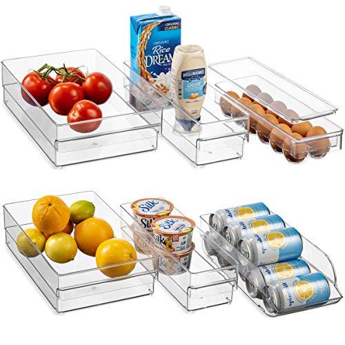 HEAVY DUTY Refrigerator Organizer Bins Set of 6 Freezer Fridge Bins Neat Organizer 4 Clear Plastic Storage Bins 1 Can Rack Organizer 1 Egg Organizer Kitchen Storage for Cabinet Countertops