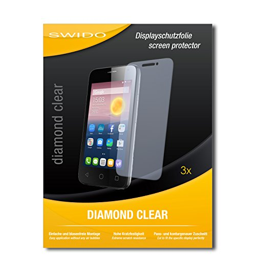 SWIDO 3 x Schutzfolie Alcatel Pixi First Bildschirmschutz Folie DiamondClear unsichtbar