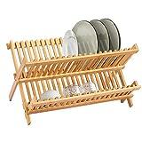 KINLO Escurreplatos de bambú – Escurreplatos con 20 rejillas, 2 niveles,...
