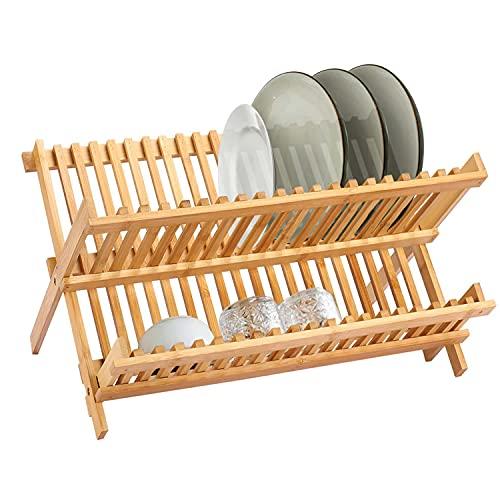 KINLO Escurreplatos de bambú – Escurreplatos con 20 rejillas, 2 niveles, escurreplatos...
