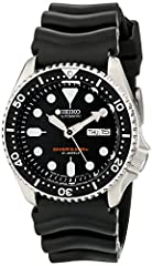 Japan 21 Jewels Automatic Self-Winding Movement (Caliber 7S36) Stainless Steel Case, Resin Strap Hardlex Mineral Crystal, Day/Date Display with Japanese Option, Luminous Hands and Markers, Uni Directional Turning Bezel Water Resistant - 200 M, Screw ...