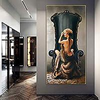 DIHEFAプリントヴィンテージ油絵プリントセクシーな女性ポスター壁アートキャンバス絵画肖像画女の子の寝室とリビングルームの装飾50x150cm [フレームなし]