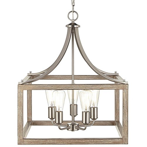 Home Decorators Collection Boswell Quarter Collection 5-Light Brushed Nickel Pendant with Painted Weathered Gray Wood Accents