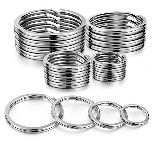 YHYZ Split Key Ring Circle Assorted (Sliver ), Metal Flat Round Keyring Durable in 4 Sizes ( Small 1/2 inch, 3/4 inch,1 inch, 1.25 inch), for Dog Pet Collar DIY Tag Jewelry Car Key (Flat Round, 20pcs)