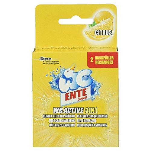 WC Ente Active 3 in 1 Nachfüller WC-Stein für Frische und Sauberkeit bis zu 3 Wochen, 2 x 40g