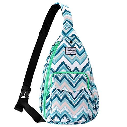 HAWEE Sling Shoulder Bag for Women Anti-Water Crossbody Backpack Sport Daypack, Light Blue Wave