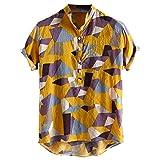 CAOQAO Camisa Hombre Verano Color Hit Collar del Soporte Manga Corta Camisas Respirables Flojas Ocasionales