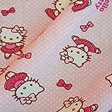 Stoff Meterware Baumwolle Jersey Hello Kitty rosa Punkte
