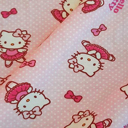 Stoff Meterware Baumwolle Jersey Hello Kitty rosa Punkte Sanrio Kleiderstoff Preis je Meter
