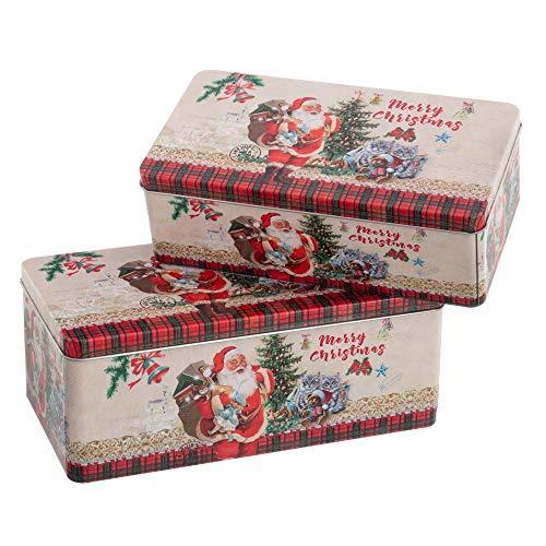 Set de 2 Cajas Decorativas de Navidad de Papá Noel Rojas de Metal - LOLAhome