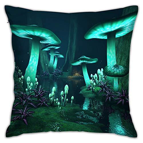 Funda de Cojín,fantasía Oscuro Bosque Verde Setas Brillantes,Funda de Almohada Cuadrado para Sofá Coche Cama Sillas Decoración para Hogar(45 x 45cm)