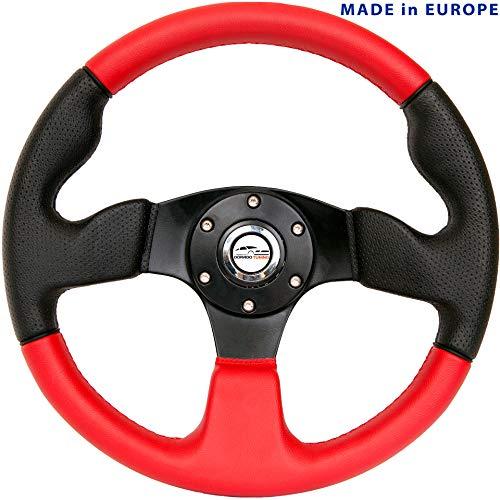 [DTi M10CR] Dorado Tuning Sportlenkrad/Lenkrad Ø 320mm Rallye/Drift/Rannen/Universal/Schwarz & Rot/Special Perforiertem Griffbereich