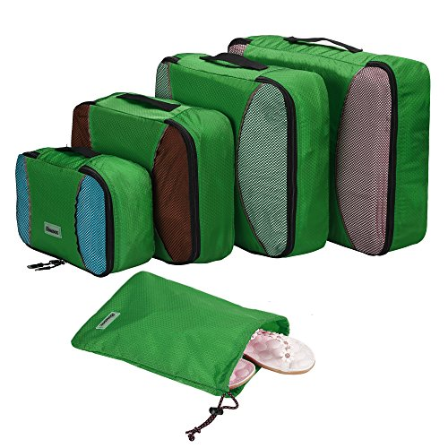 Homdox 4pezzi Set cubi di imballaggio con lavanderia, Honeycomb fabric Green
