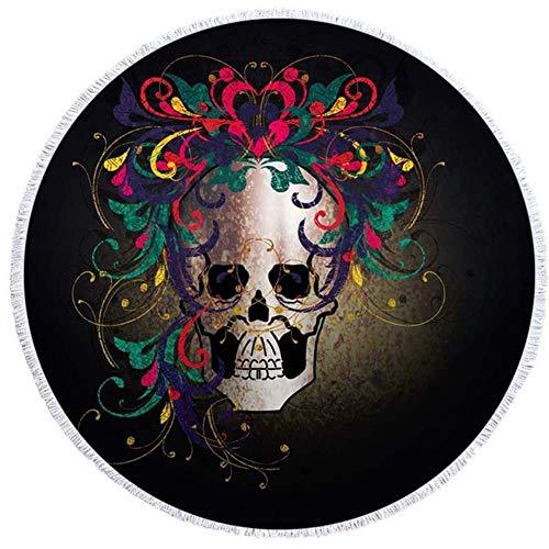 Gbcyp 3D Print Suger Skull Bloemmotief Ronde strandlaken Grote badhanddoek Dunne handdoek Wandtapijt Yoga Picknickmat Woondecoratie, Kleur-9.150x150cm