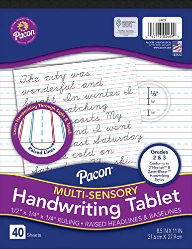 Pacon Multi-Sensory Raised, Tape-Bound Tablet, 1/2' x 1/4' Ruled Short, 8-1/2' x 11', 40 Sheets, White