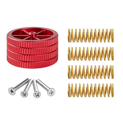 Upgraded 4PCS Creality Aluminum Hand Twist Leveling Nut with 4PCS Hot Bed Die Spring and 4PCS M3X35mm Screw for Ender 3/Ender 3 Pro, Ender 5/Ender 5 Plus/Ender 5 Pro, CR-10/CR 10S Pro