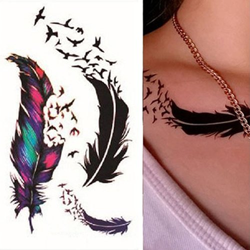 Polytree Temporary Tattoos for Women Teens Girls, Bird Feather Pattern Fake Tattoos Flower Sticker for Arm Shoulders Waist Chest Back